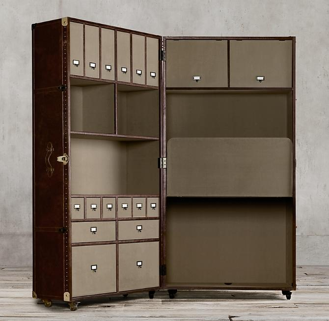 RESTORATION HARDWARE MAYFIELD STEAMER TRUNK OPEN AND CLOSE SECRETARY  IN VINTAGE CIGAR LEATHER