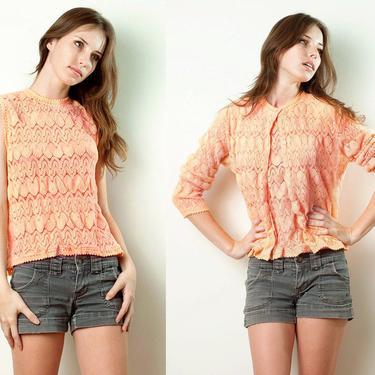 Vintage 70s Sweater Set SPIEGEL 2-Piece Twin Set knitted sleeveless top cardigan Eyelet Knit Orange Long Sleeves L XL large / extra large by shoprabbithole