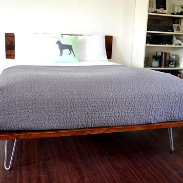 Platform Bed And Headboard Queen Size On Hairpin Legs Minimal Design NEW LOWER PRICING by CasanovaHome