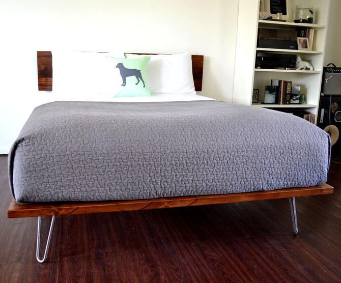 RESERVED FOR CESAR Platform Bed And Headboard Queen Size On Hairpin Legs Minimal Design by CasanovaHome