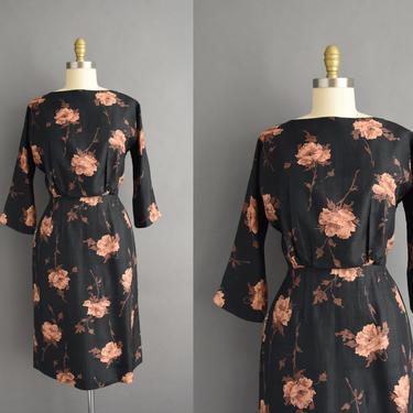 vintage 1950s   Gorgeous Jet Black Brown Rose Print Silk Cocktail Party Pencil Skirt Dress   Medium   50s dress by simplicityisbliss