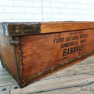 Antique First National Stores Somersville, Mass Wood Banana Box by RedsRustyRelics