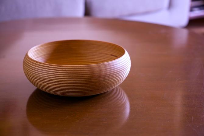 Paavo Asikainen Finland Wooden Bowl Laminate Turned Wood Bowl Finland Mid-Century Aalto Saarinen by BrainWashington