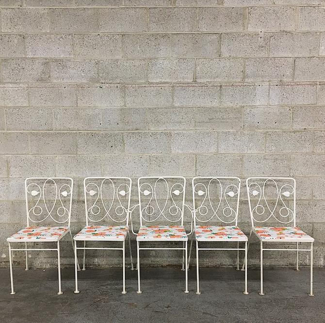 LOCAL PICKUP ONLY Vintage Patio Chairs Retro 1960s Set of 5 Matching White Metal Leaf Design + Newly Recovered Floral Outdoor Patio Chairs by RetrospectVintage215