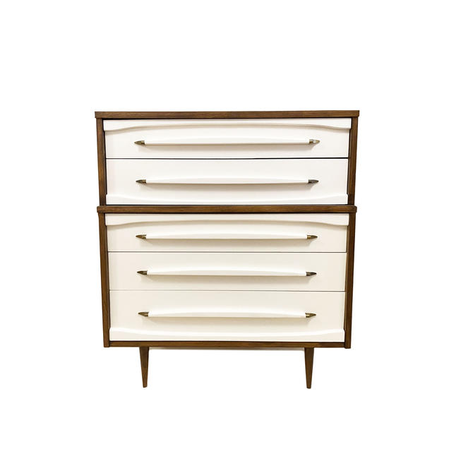 Vintage Mid Century Dresser In Wood and White by minthome