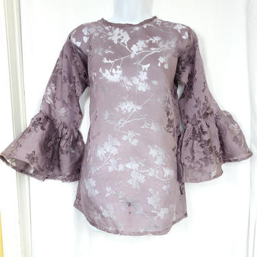 Blouse with trumpet sleeeves (Plum organza) by GLAMMfashions