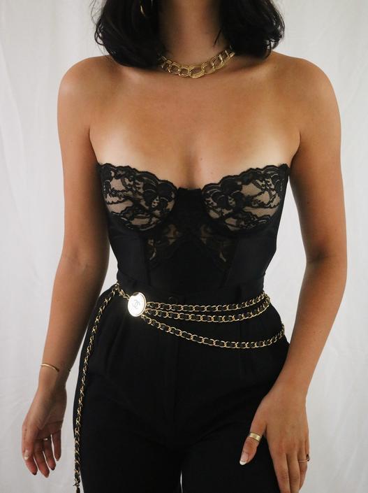 Vintage Black Lace + Satin 1980's Gold Label Victoria's Secret Bustier Corset Top - 34B by LadyLVintageCo