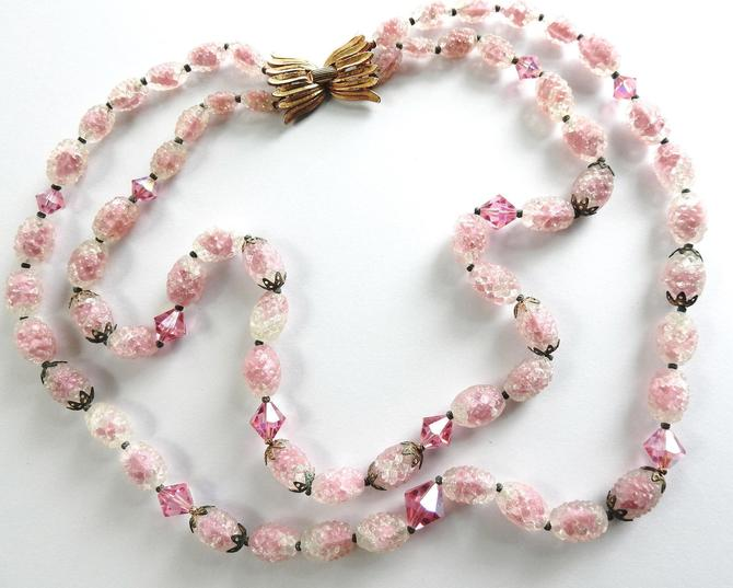 Mid Century Trifari Sugar Glass and Pink Crystal 2 Strand Gold tone Necklace by LegendaryBeast