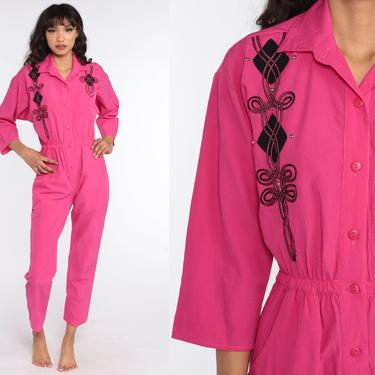 Hot Pink Jumpsuit 80s Button Up Tapered Leg Pants Studded Pantsuit Vintage Long Sleeve Romper 1980s High Waist Small by ShopExile