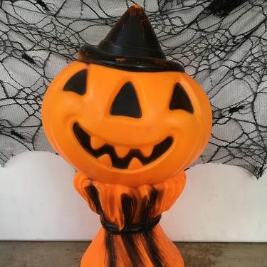 Vintage Jack O Lantern Blow Mold On Corn Stalk, 1969 Empire Halloween JOL Light Up Decor by luckduck