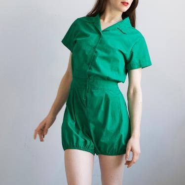 green romper shorts jumpsuit by EELT