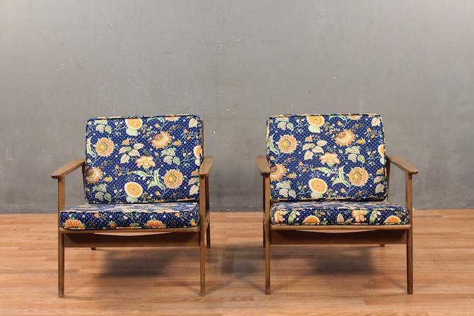 Mid Century Orange & Navy Floral Walnut Lounge Chair
