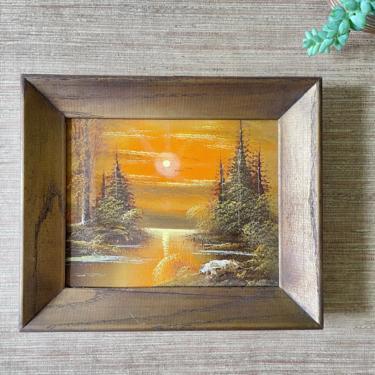 Vintage Art - Sunset Lake Scene - Pine Trees - Orange Yellow - Framed Sunset Art - Canvas Art - Wood Frame by SoulfulVintage