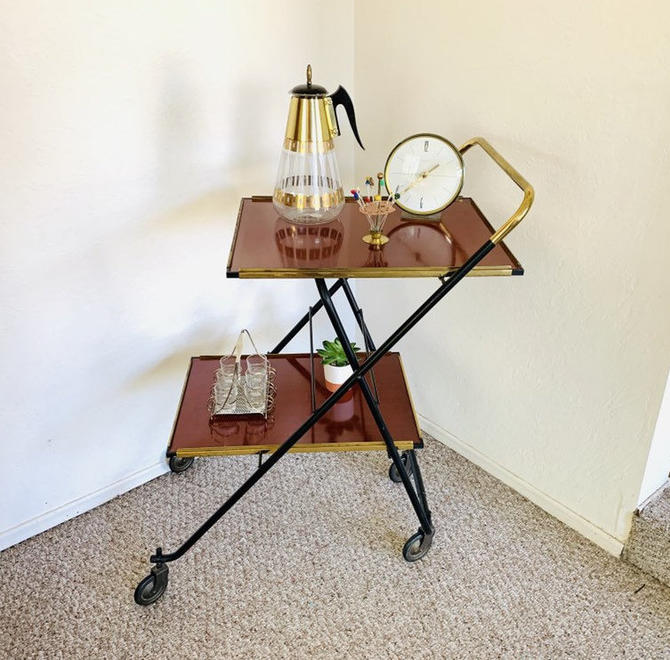 Serving Cart, Vintage Dry Bar, Mid Century Bar, Mid Century Coffee Table, Record Player Stand, Indoor Plant Table, Plant Stand, Rolling Cart by dadacat