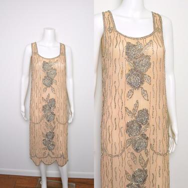 RESERVED Vintage 1920s Beaded Dress 20s Silk Crepe Flapper Dress by littlestarsvintage