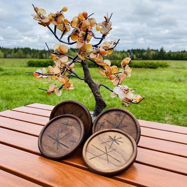 Mid Century Coasters Starburst Round Wood by OrWaDesigns
