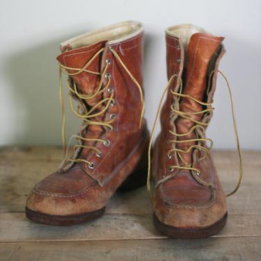 vintage john roberts outdoorsman hunting or work boots size 8EE by suesuegonzalas