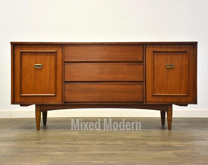 Walnut & Brass MCM Long Dresser by mixedmodern1