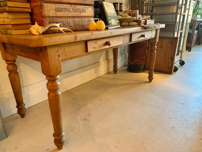 """Vintage pine table, 7' 11.5"""" l x 31"""" d x 31"""" t, $695."""