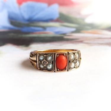 Antique Victorian Coral, Pearl & Rose Cut Diamond Ring Solid 15k Yellow Gold by YourJewelryFinder