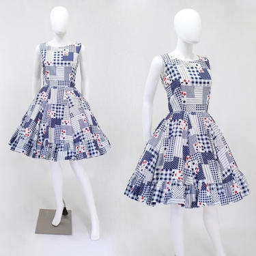 1960s Cherry Print Dress - Cherry Novelty Print Dress - 1960s Fit & Flare Dress - 1960s Sundress - 1960 Gingham Dress | Size Small by VeraciousVintageCo
