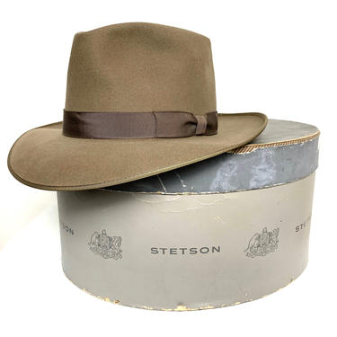 Vintage 1950s Royal STETSON Fedora w/ Box ~ size 7 1/8 ~ Whippet / Playboy / Stratoliner by SparrowsAndWolves