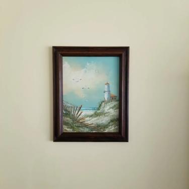 Vintage Lighthouse Painting / Framed Original Art / Beach Scene Painting / Framed Vintage Seascape Painting / Coastal Beach Wall Decor by SoughtClothier