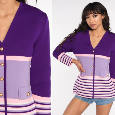 Purple Striped Cardigan Sweater 60s 70s Hippie Bohemian Sweater 1970s Button Up Seventies Hippie Boho Sweater Small by ShopExile