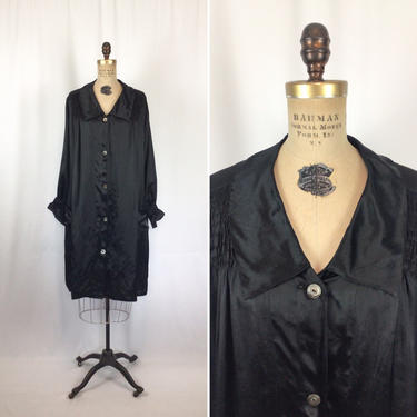 Vintage 20s Dress | Vintage black silk satin tunic | 1920's button front black smock coat by BeeandMason