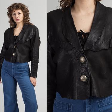 90s Zephyr Unlimited Raw Edge Cropped Leather Jacket - Medium   Vintage Black Southwestern Silver Button Up Biker Coat by FlyingAppleVintage