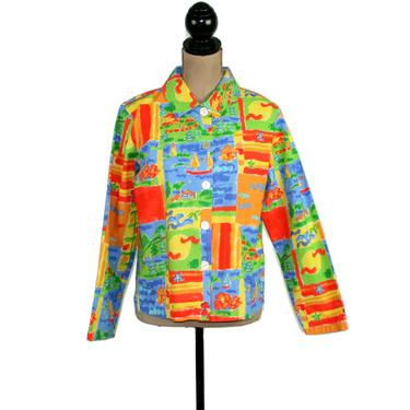 90s Novelty Print Cotton Jacket Women Small Medium, Colorful Lightweight Spring Summer, 1990s Clothes Vintage Clothing from Chicos by MagpieandOtis