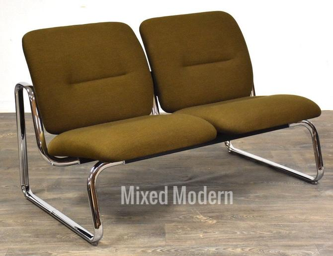 Steelcase Green And Chrome Loveseat Sofa by mixedmodern1
