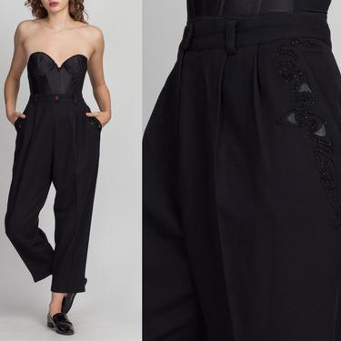 "80s 90s Black Soutache High Waist Trousers - Large, 33"" | Vintage Pleated Tapered Leg Minimalist Pants by FlyingAppleVintage"