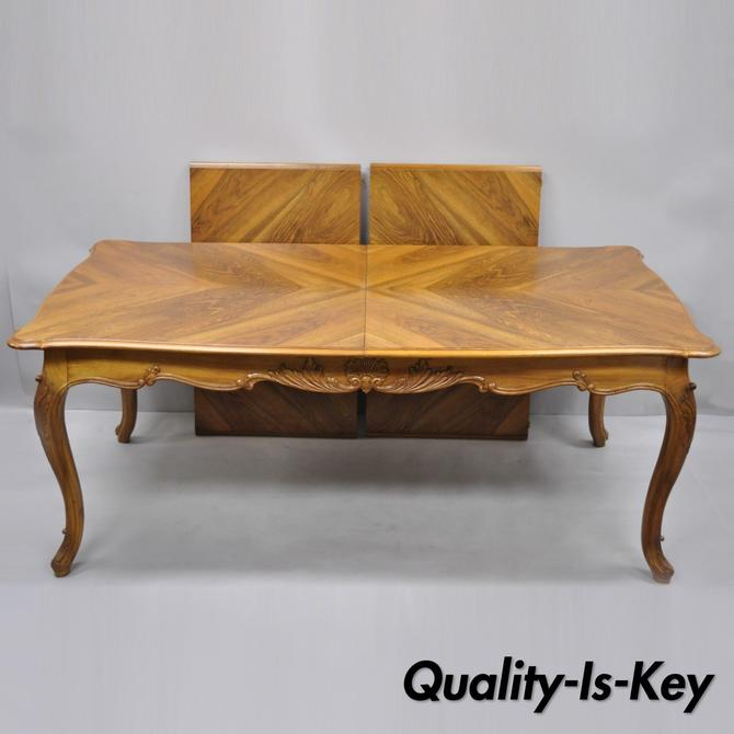 French Country Louis XV Style Shell Carved Walnut Dining Table with Two Leaves