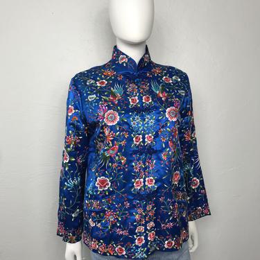Vtg 50S 60s blue silk embroidered chinese robe kimono jacket by AnimalVintageMiami