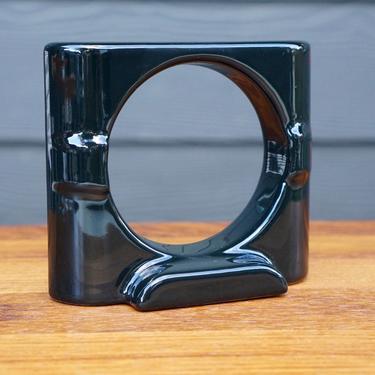 PORCELAIN CUP HOLDER - Black Art Deco Streamline Reproduction Ceramic by CovetModernDesign