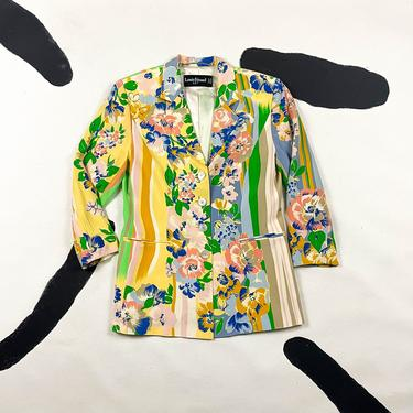 80s  / 90s Louis Feraud Silk Abstract Floral Stripe Blazer / Green and Tan / Tropical / Shoulder Pads / Size 10 / Brush Stroke / Watercolor by shoptrashdotnet