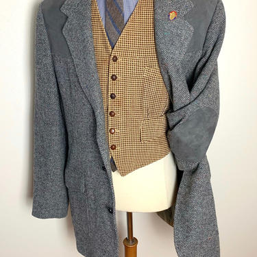 Vintage PENDLETON Wool Tweed Western Blazer ~ size 48 Tall ~ Donegal ~ jacket / sport coat ~ Elbow Patches ~ by SparrowsAndWolves