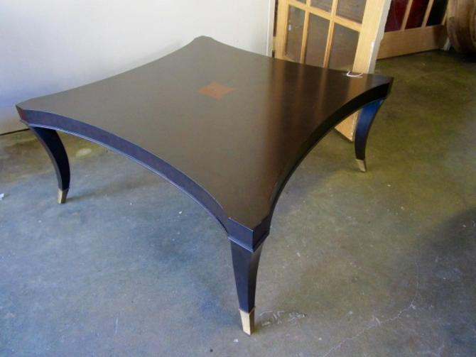 SQUARE COFFEE TABLE WITH CURVED SIDES AND BRASS FEET FROM ADAC