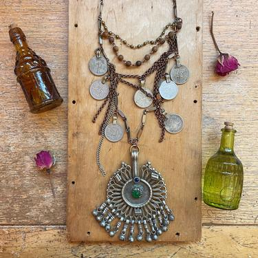 Large Tribal Pendant Necklace Handmade Vintage Jewelry Coins Sustainable Gifts by LoveItShop