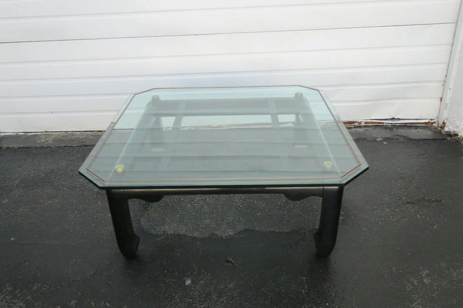 Hollywood Regency Black Painted Glass Top Coffee Table 1577