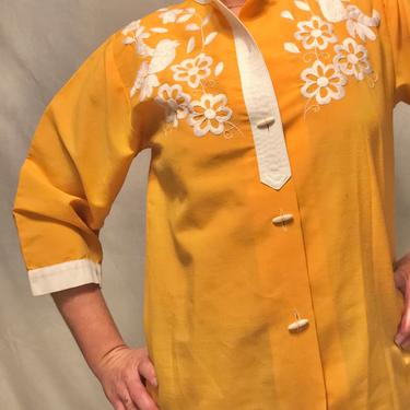1960s Marigold Yellow Linen Button-Down Shirt w/White Mexican Embroidery    Long Sleeves w/Wooden Buttons    Floral Pattern    Size L/XL by CelosaVintage