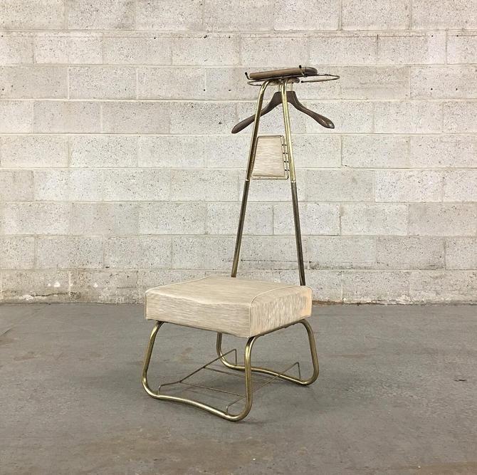 Vintage Butlers Chair Retro 1960s Spiegel Industries Valet Stand Mid Century + Chair + Gold Metal Frame + Creme Vinyl + MCM Home Decor by RetrospectVintage215