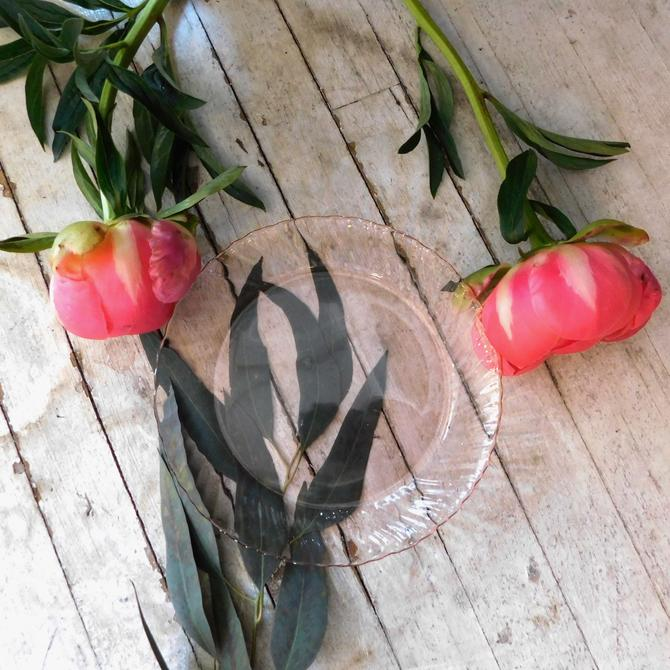 Vintage French Pink Glass Plates (set of 4)