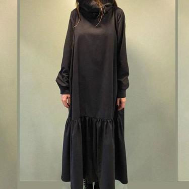 Exaggerated Funnel Neck Ruffle Detail Long Sleeve Dress