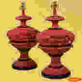 Pair of Hollywood Regency Red Table Lamps