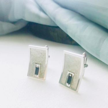 Mod Geometric Cuff Links, Blue Stone, Silver Tone, Cut Out, Vintage 60s, Free US Shipping by GabAboutVintage