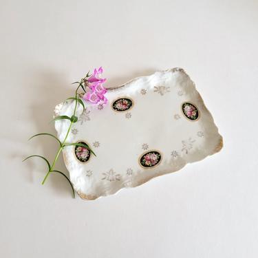 Antique Silesia Porcelain Calling Card Plate, Vintage Floral Porcelain Vanity Tray by CivilizedCrow