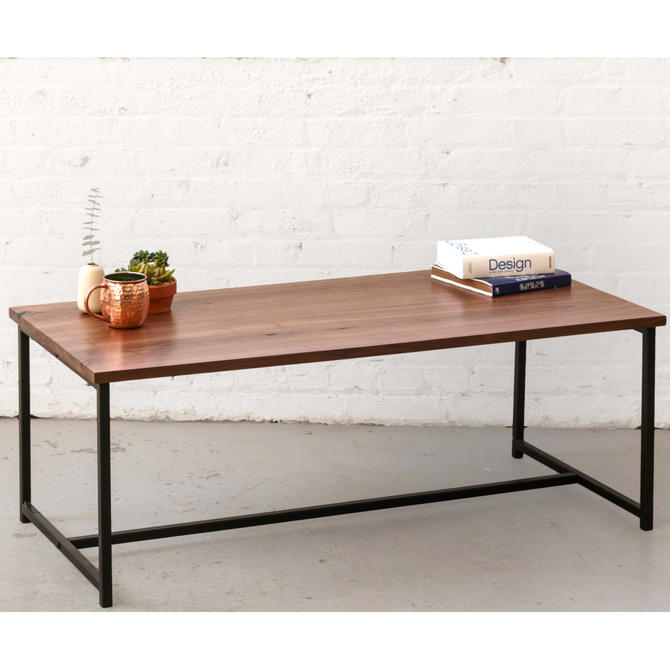 The Flapjack Coffee Table - Walnut with Black Powder Coated Steel - Walnut Furniture by HerbsFurniture