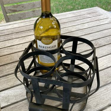 Vintage Wrought Iron Bottle Carrier Wine Carrier Wine Caddy by TheFINDstuff4thehome